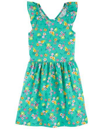 Tropical Ruffle Jersey Dress
