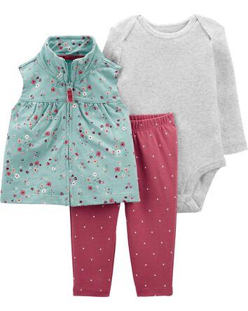 3-Piece Floral Little Vest Set