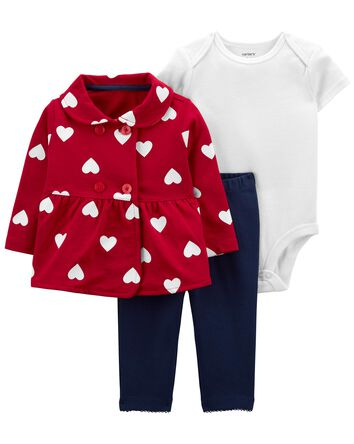 3-Piece Heart Print Little Cardigan...
