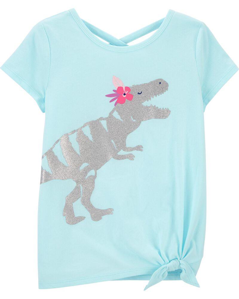 Glitter Dinosaur Tie-Front Jersey Tee, , hi-res