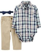 3-Piece Plaid Dress Me Up Set, , hi-res
