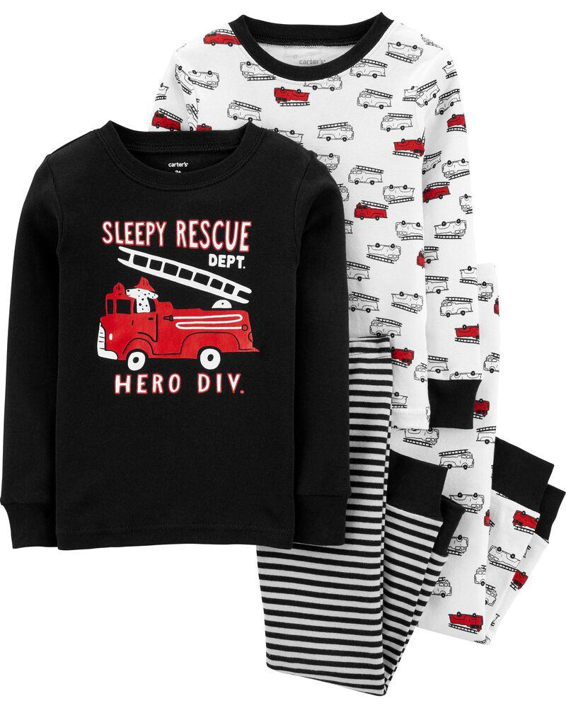 Pyjama 4 pièces en coton ajusté à camion d'incendie, , hi-res