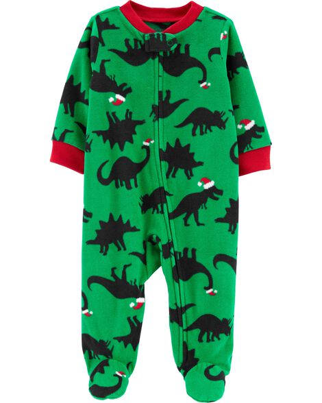 Holiday Dinosaur Zip-Up Fleece Sleep & Play