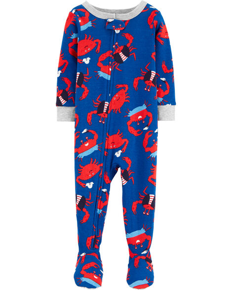 1-Piece Crab Snug Fit Cotton Footie PJs