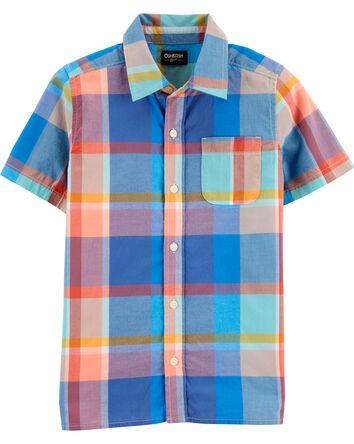 Chemise boutonnée à motif écossais