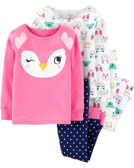4-Piece Owl Snug Fit Cotton PJs