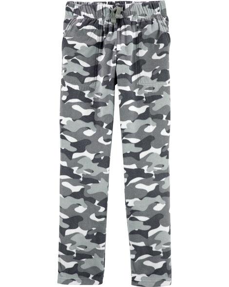 Pantalons en micromolleton à motif camouflage
