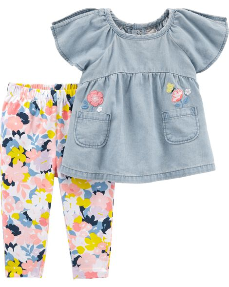 2-Piece Chambray Top & Floral Legging Set