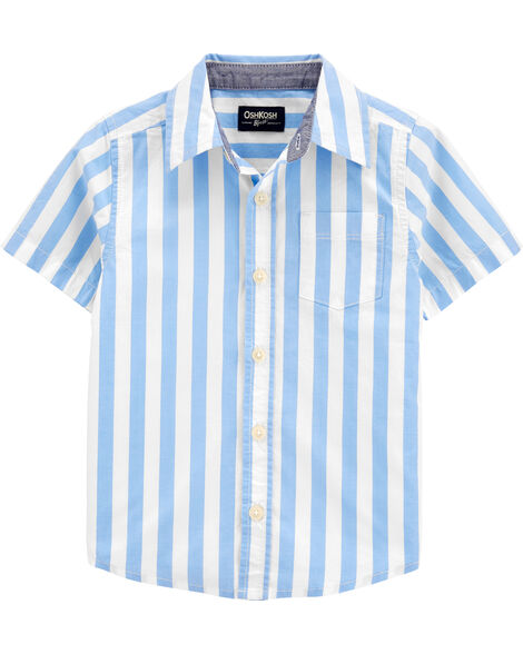Striped Short Sleeve Button-Front Shirt