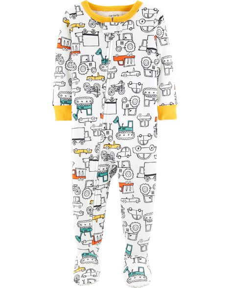 1-Piece Cars Footed Snug Fit Cotton PJs