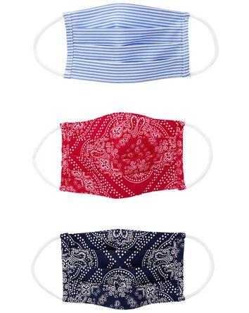3-Pack Bandana Print Face Masks