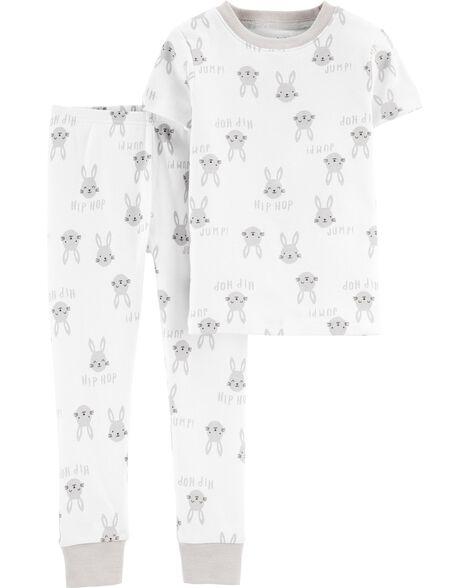 Pyjama 2 pièces en coton ajusté avec lapin