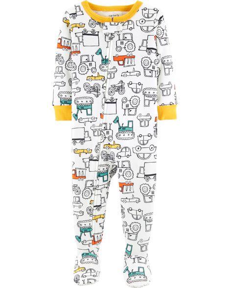 Pyjama 1 pièce néon en coton ajusté à motif de voiture