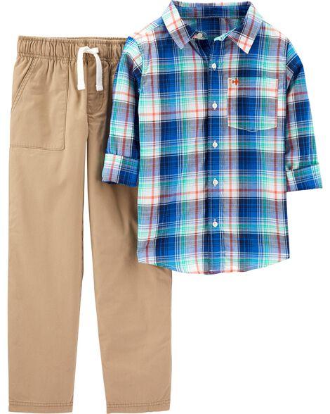 Ensemble 2 pièces chemise boutonnée à motif écossais et pantalon kaki