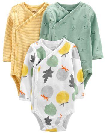 3-Pack Fruit Side-Snap Bodysuits