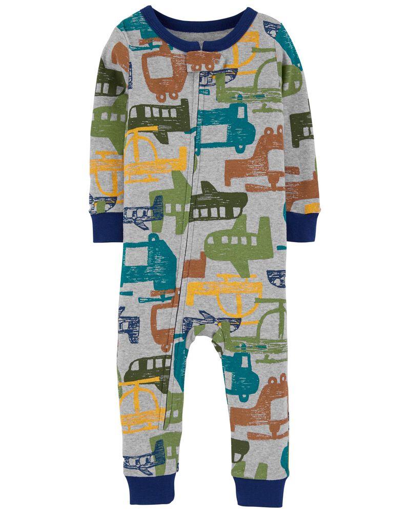 Pyjama 1 pièce en coton ajusté à hélicoptère, , hi-res