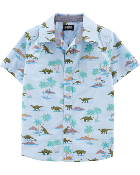 Dinosaur Short Sleeve Button-Front Shirt