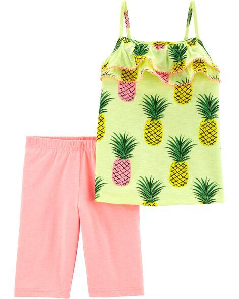 2-Piece Neon Pineapple Tank & Bike Short Set