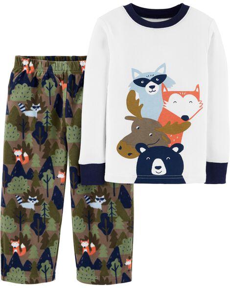 2-Piece Woodland Creatures Snug Fit Cotton & Fleece PJs