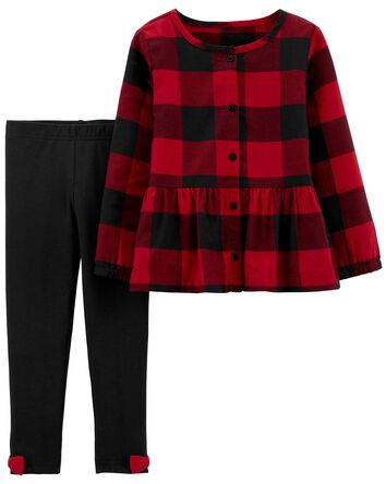 2-Piece Plaid Twill Top & Legging S...