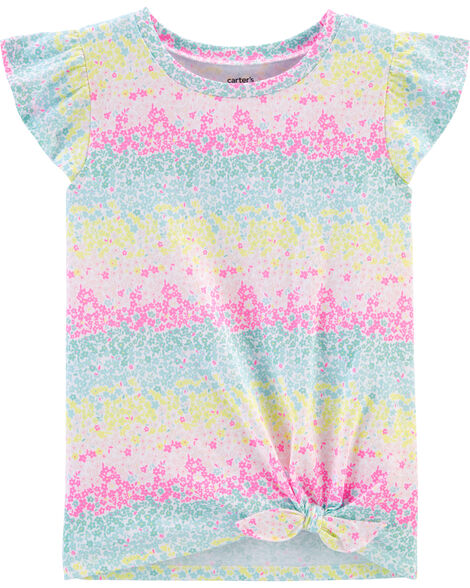 Rainbow Floral Tie-Front Jersey Tee