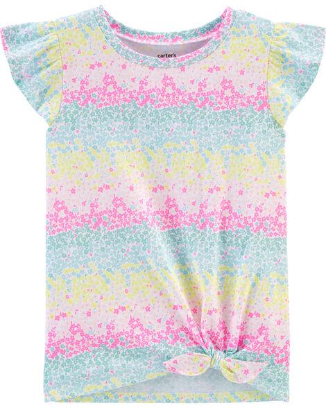 T-shirt en jersey à cœur arc-en-ciel et nœud devant