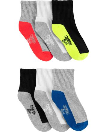 6-Pack Athletic Quarter Crew Socks