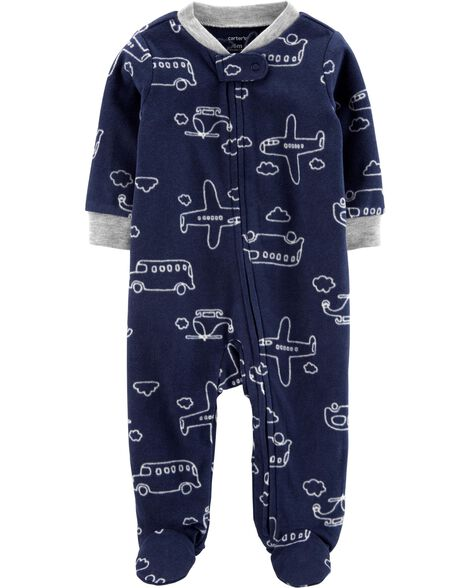 Airplane Zip-Up Fleece Sleep & Play