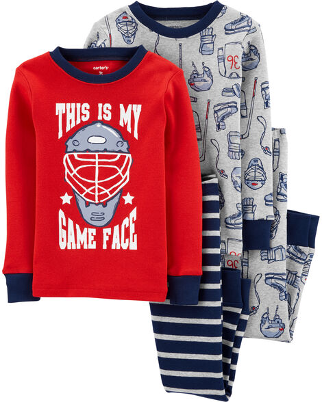 4-Piece Hockey Snug Fit Cotton PJs