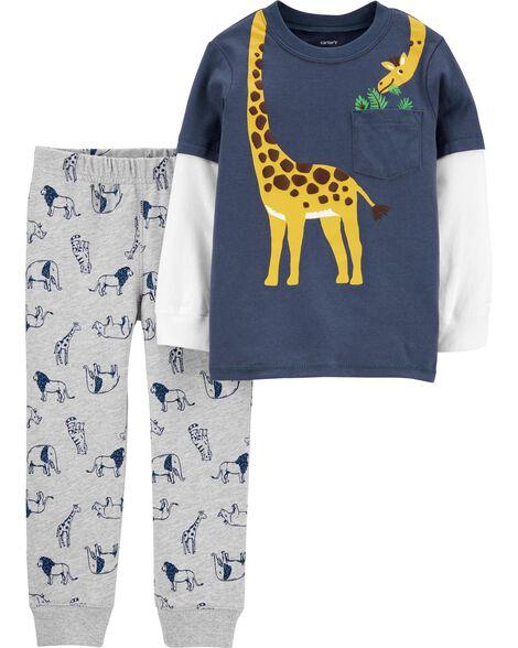 Ensemble 2 pièces t-shirt à girafe de style superposé et pantalon de jogging à motif d'animaux