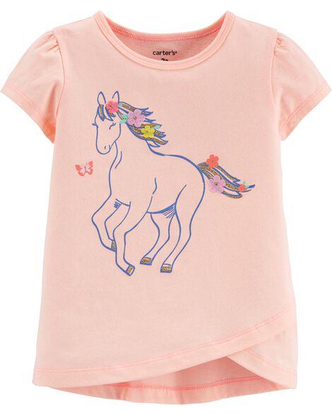 T-shirt en jersey et cheval scintillants