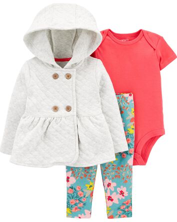3-Piece Quilted Cardigan Set