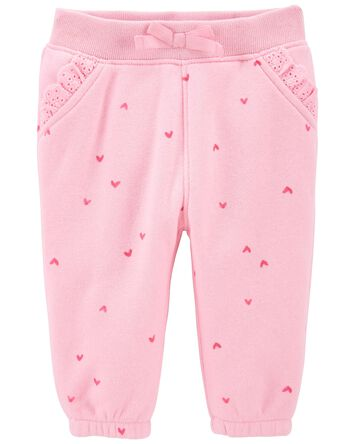 Heart Print Lace Trim Sweatpants