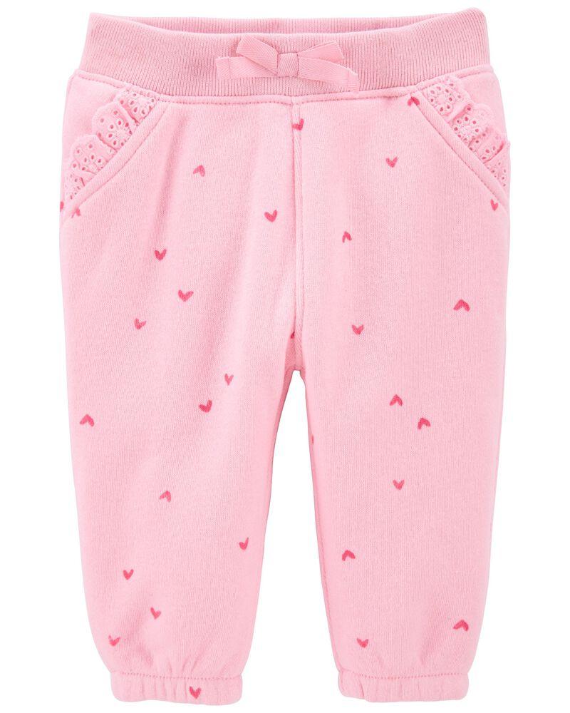 Heart Print Lace Trim Sweatpants, , hi-res