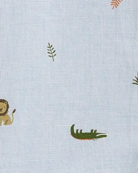 Ensemble 2 pièces chemise boutonnée à animaux et short en sergé