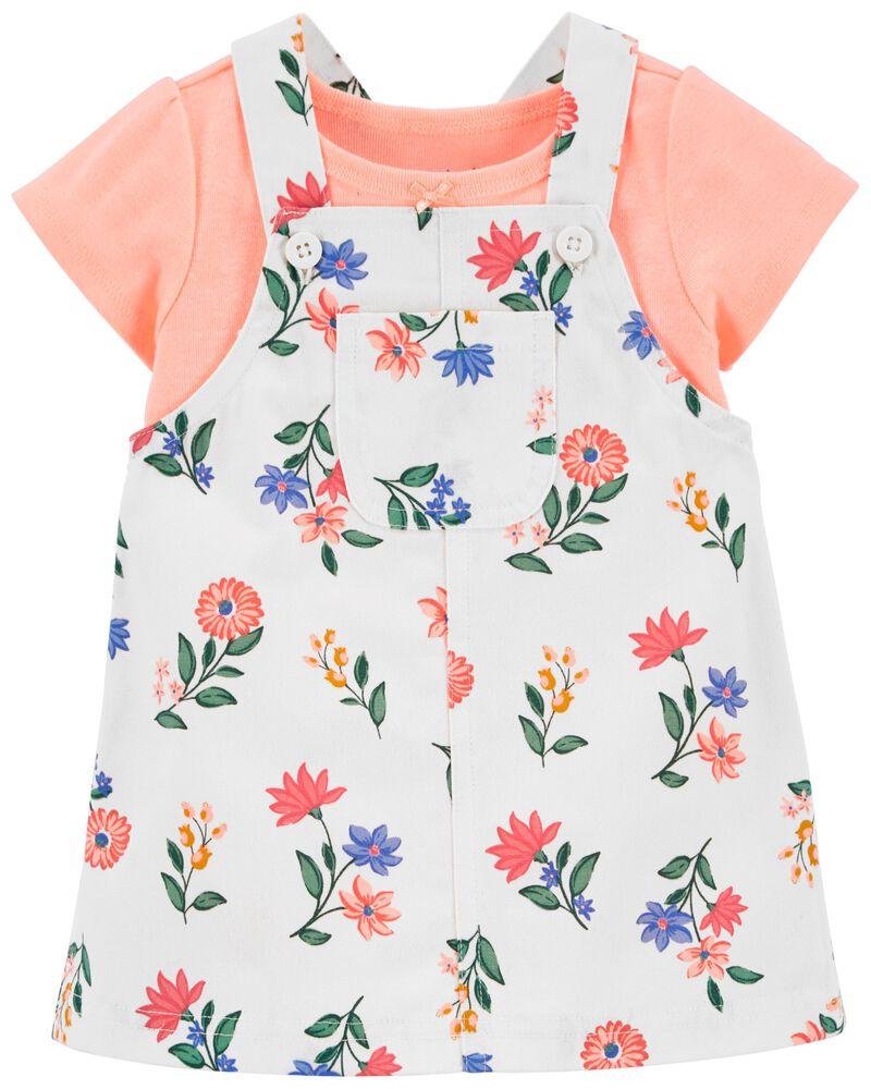Ensemble 2 pièces t-shirt et jupe-salopette fleurie, , hi-res