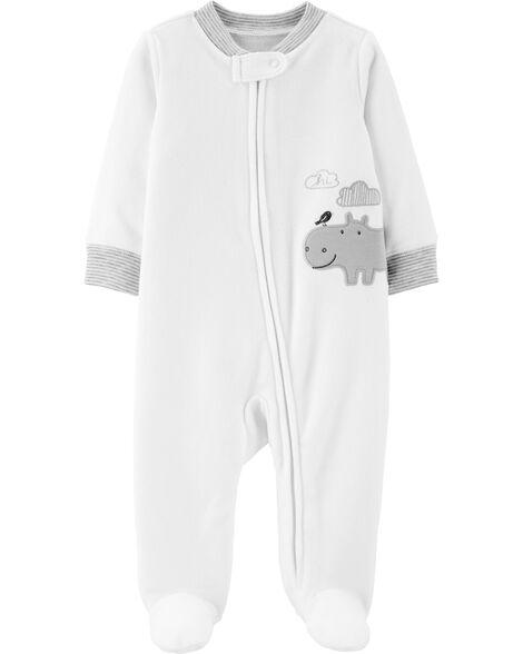 Hippo Zip-Up Fleece Sleep & Play