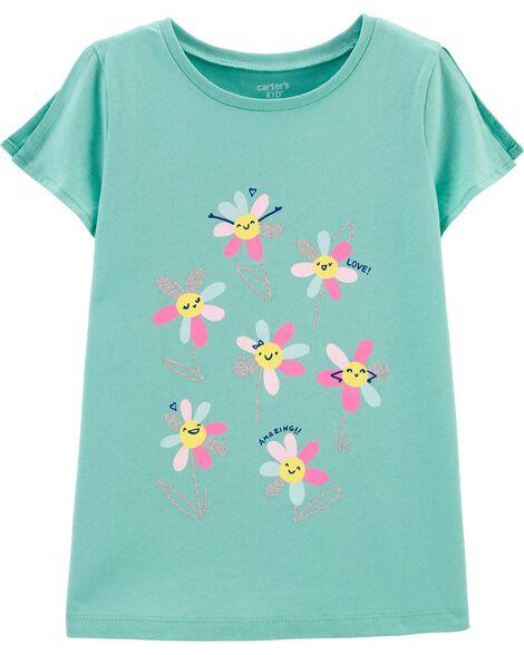 T-shirt en jersey à ouverture sur les épaules et fleur scintillante
