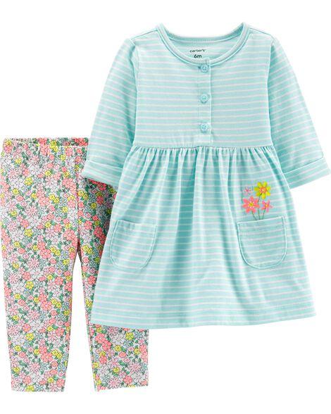 2-Piece Striped Dress & Floral Legging Set