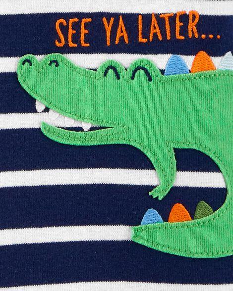 1-Piece Striped Alligator Snug Fit Cotton Footie PJs