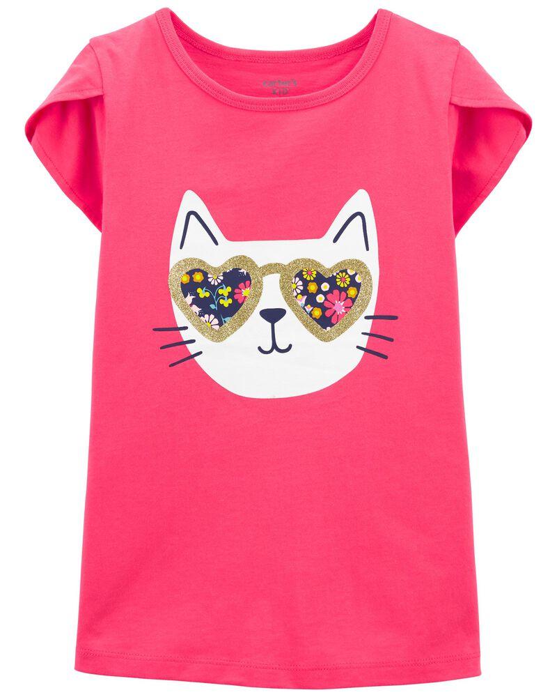 T-shirt en jersey chat, , hi-res