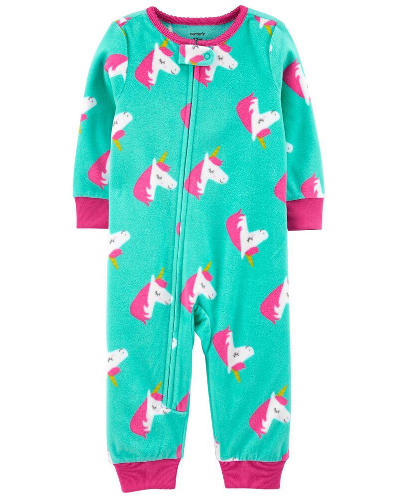 Pyjama 1 pièce sans pieds en molleton motif licorne, , hi-res