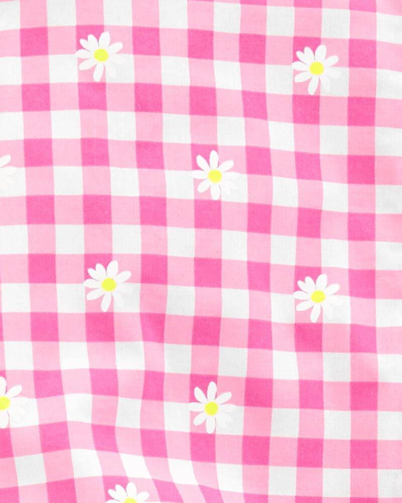2-Piece Floral Gingham Top & Knit Denim Leggings, , hi-res