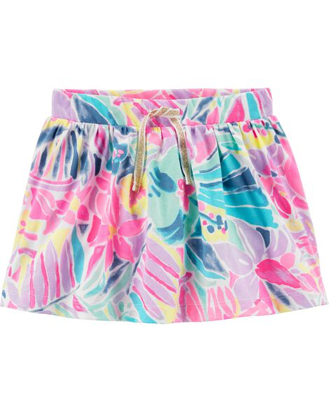 Jupe-short avec fleurs tropicales