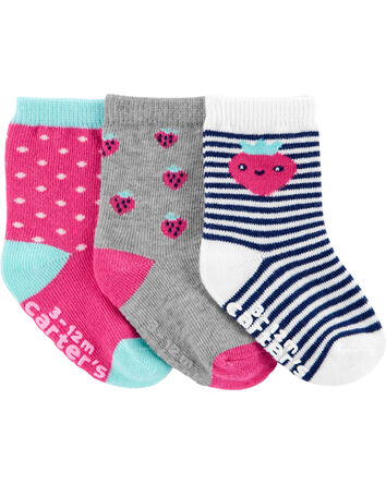 3-Pack Strawberry Crew Socks