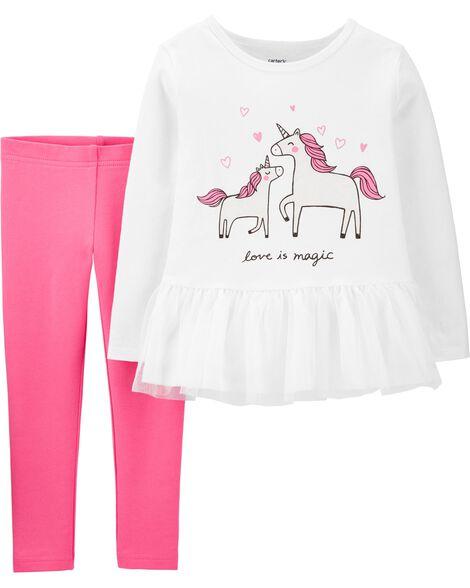 2-Piece Unicorn Peplum Top & Legging Set