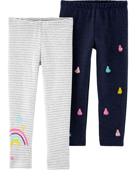 2-Pack Rainbow Tassel Leggings
