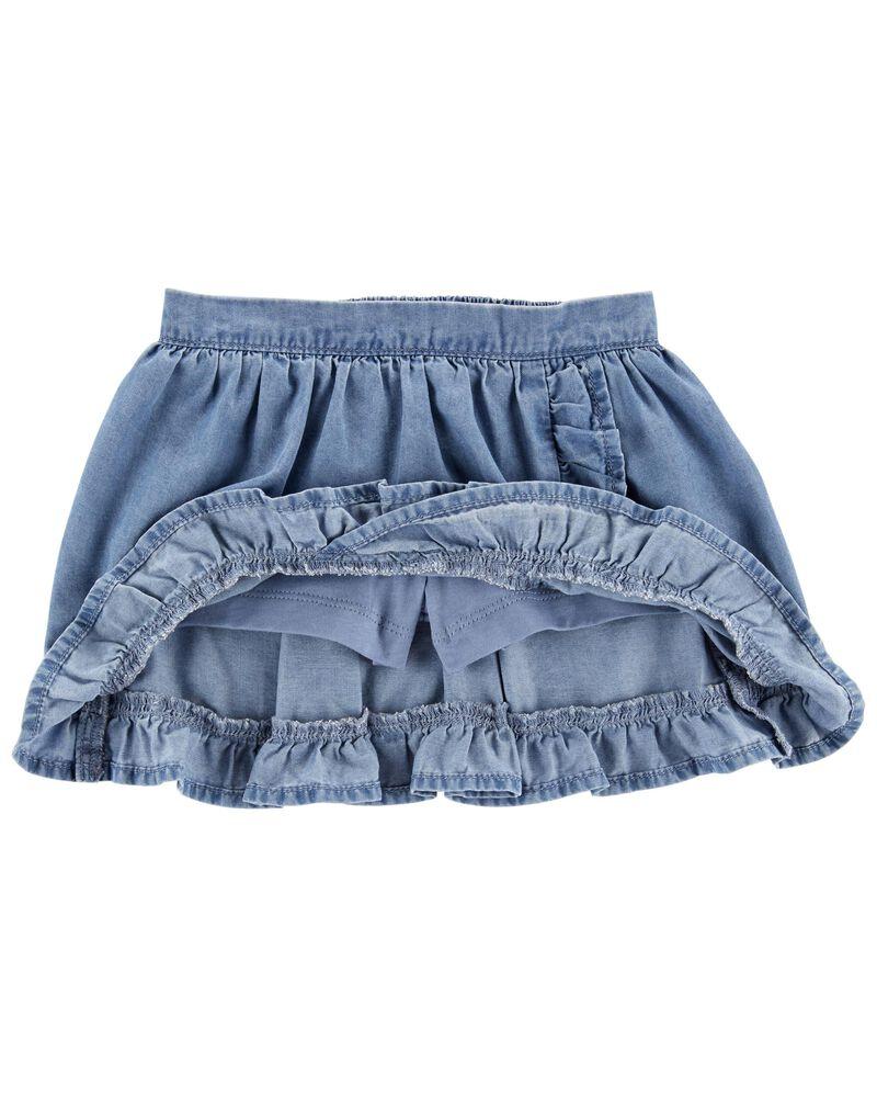 Jupe-short volantée en chambray, , hi-res