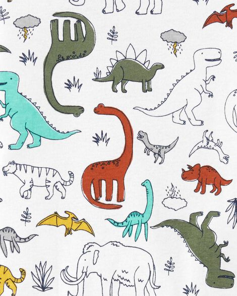 4-Piece Dinosaur Snug Fit Cotton PJs