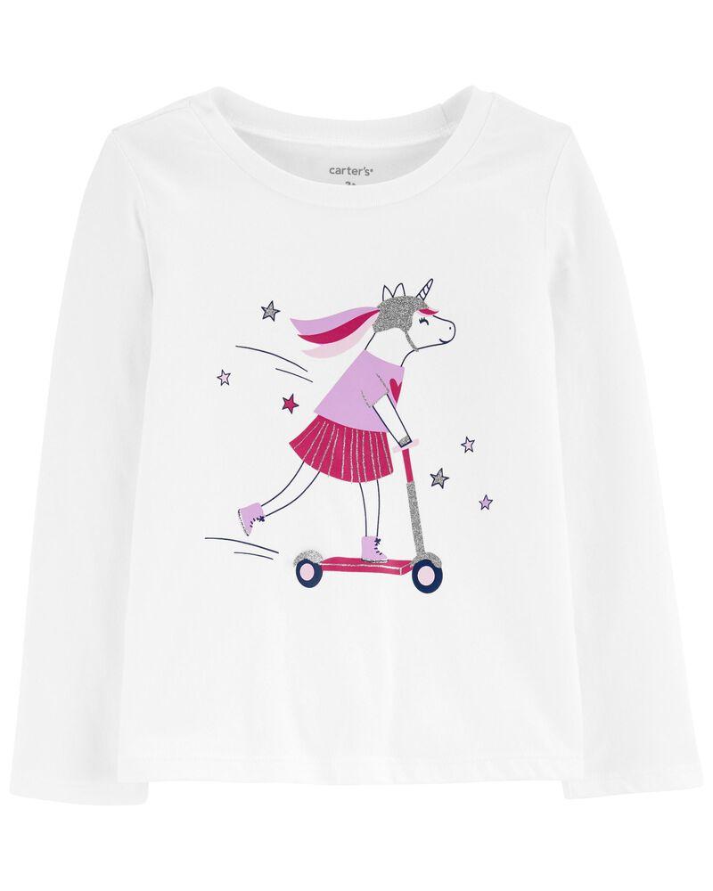T-shirt en jersey à licorne sur trottinette, , hi-res